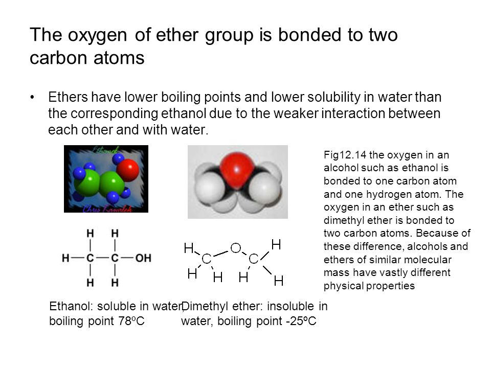 The oxygen of ether group is bonded to two carbon atoms