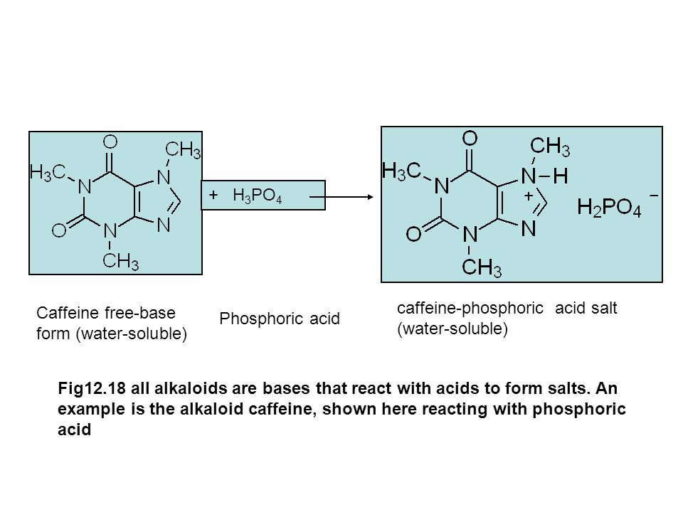 + H3PO4 caffeine-phosphoric acid salt (water-soluble) Caffeine free-base form (water-soluble) Phosphoric acid.