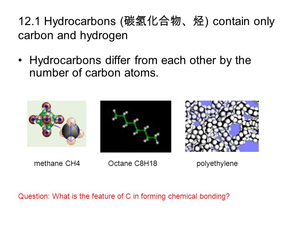 12.1 Hydrocarbons (碳氢化合物、烃) contain only carbon and hydrogen