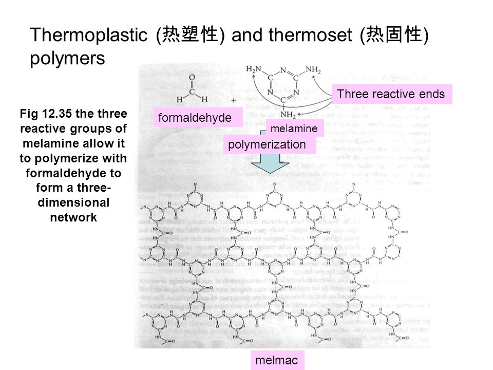 Thermoplastic (热塑性) and thermoset (热固性) polymers