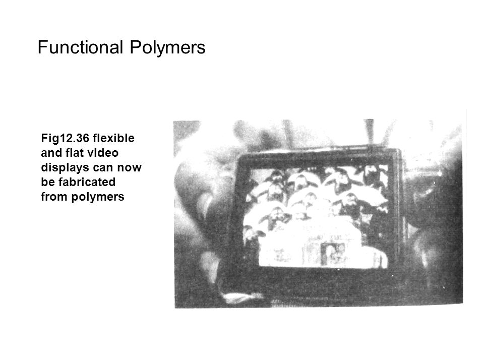 Functional Polymers Fig12.36 flexible and flat video displays can now be fabricated from polymers