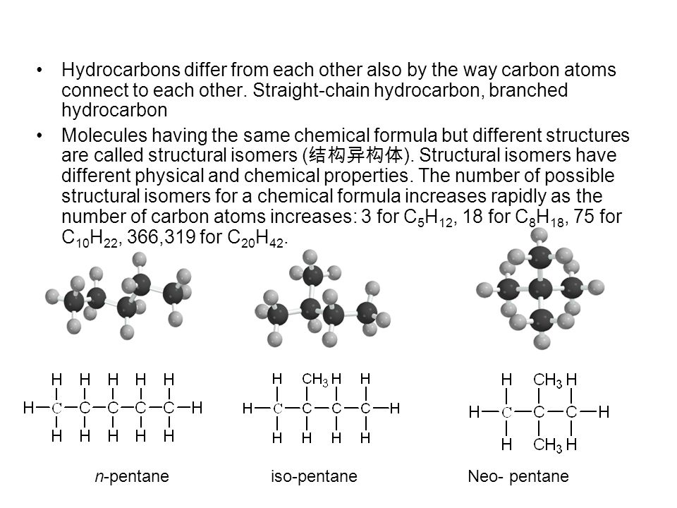 Hydrocarbons differ from each other also by the way carbon atoms connect to each other. Straight-chain hydrocarbon, branched hydrocarbon
