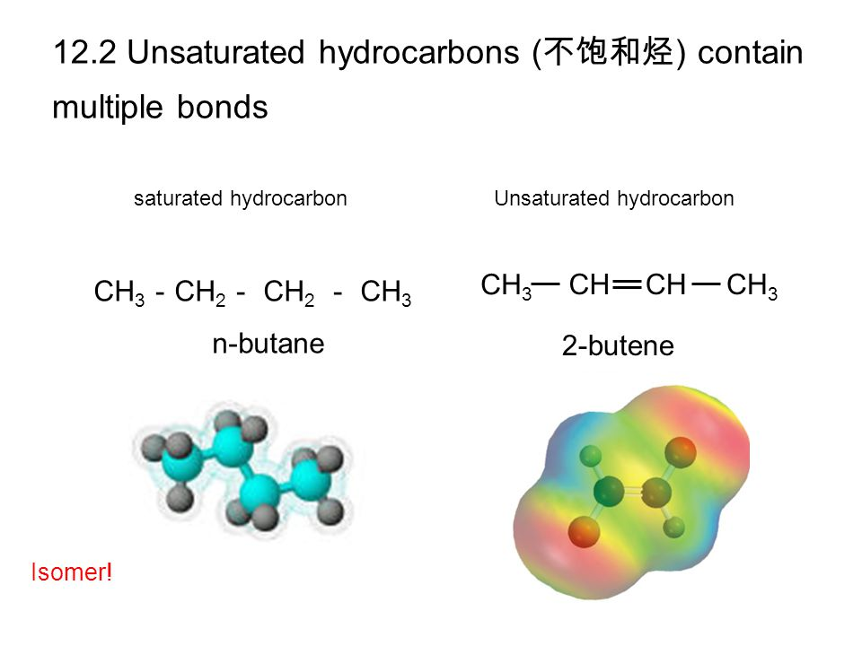 12.2 Unsaturated hydrocarbons (不饱和烃) contain multiple bonds