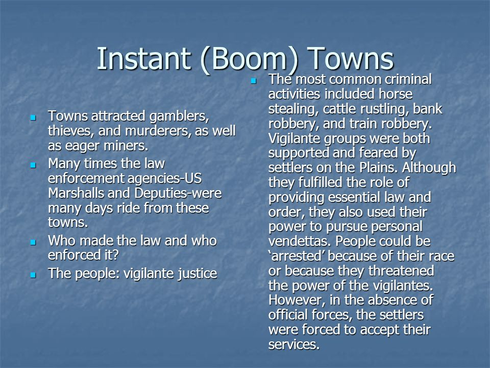 Instant (Boom) Towns