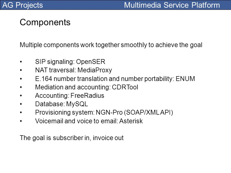 Components Multiple components work together smoothly to achieve the goal. SIP signaling: OpenSER.
