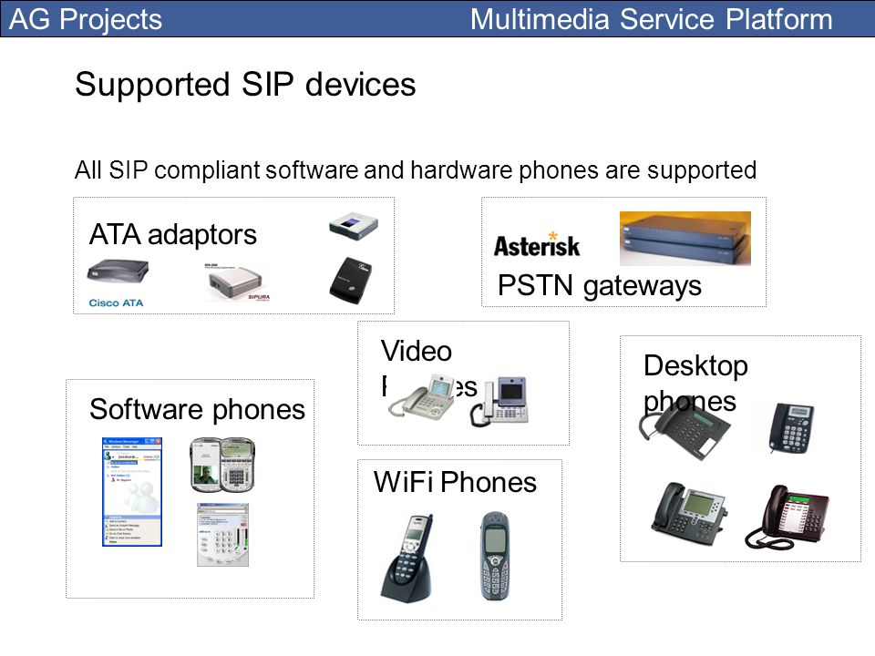 Supported SIP devices ATA adaptors PSTN gateways Video Phones