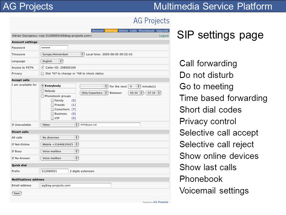 SIP settings page Call forwarding Do not disturb Go to meeting