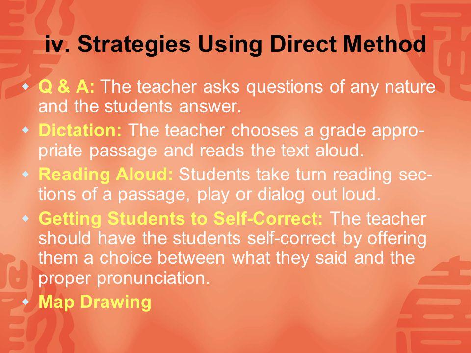 iv. Strategies Using Direct Method