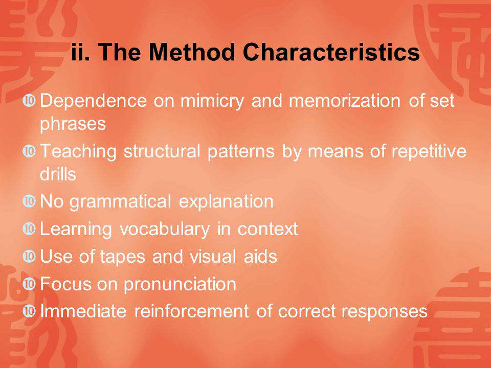 ii. The Method Characteristics