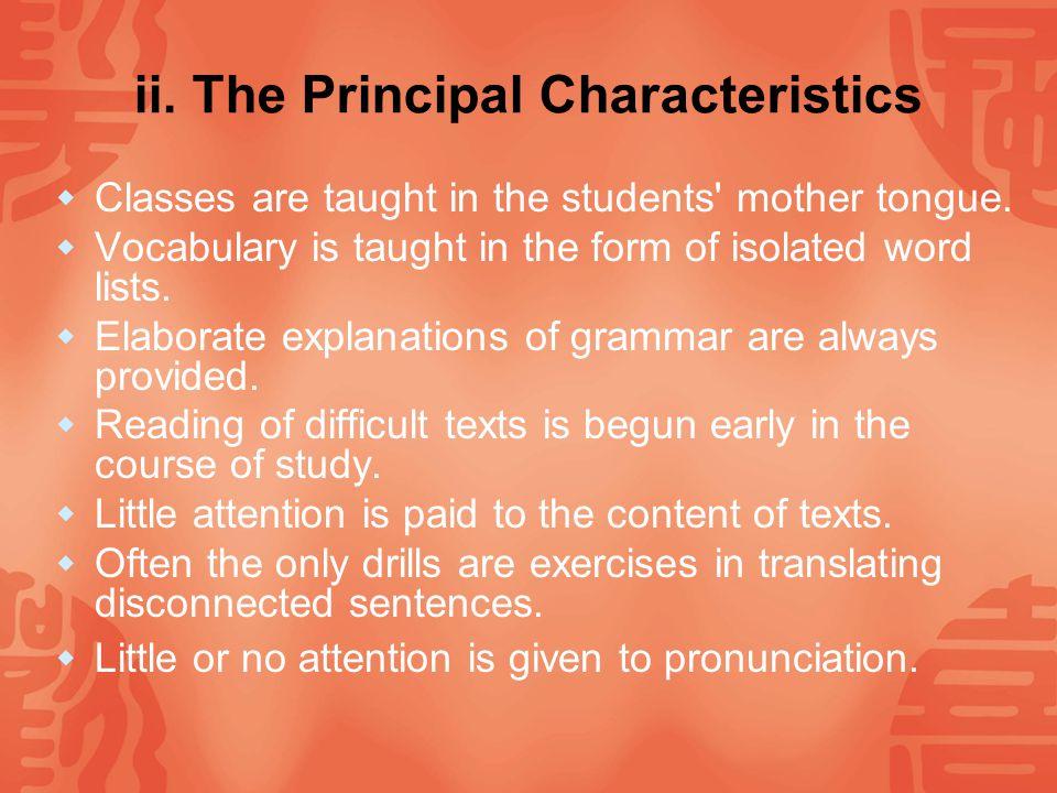 ii. The Principal Characteristics