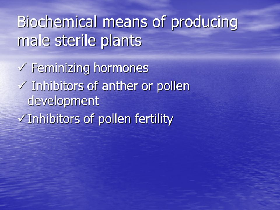 Biochemical means of producing male sterile plants