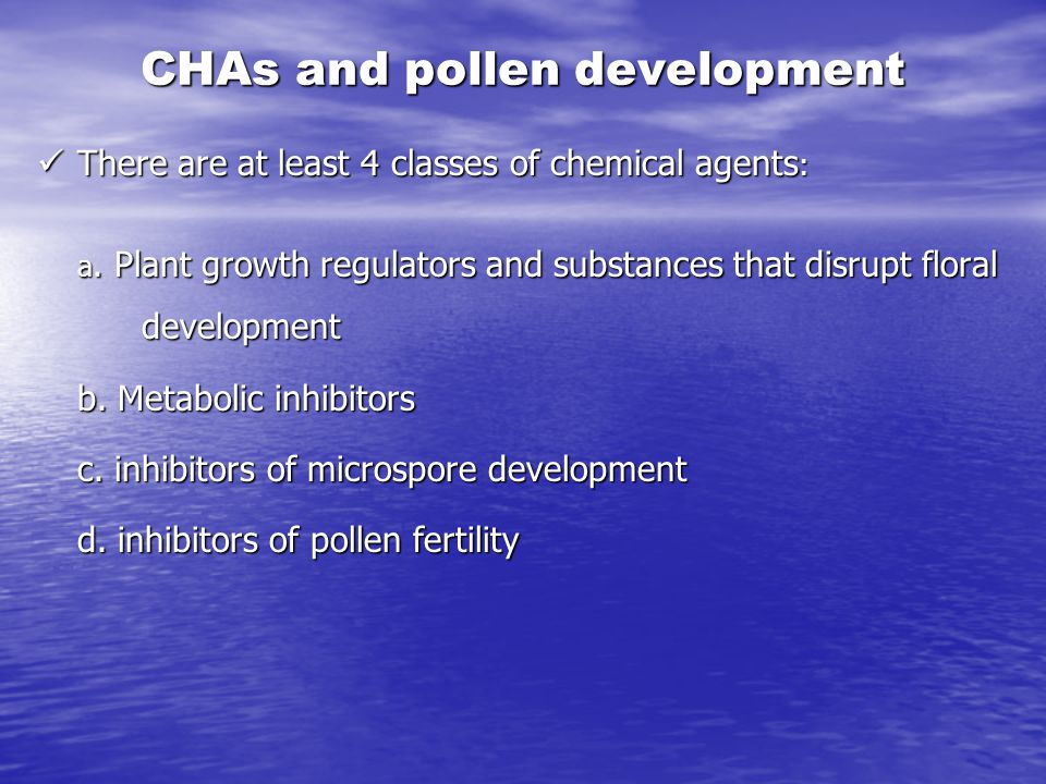 CHAs and pollen development