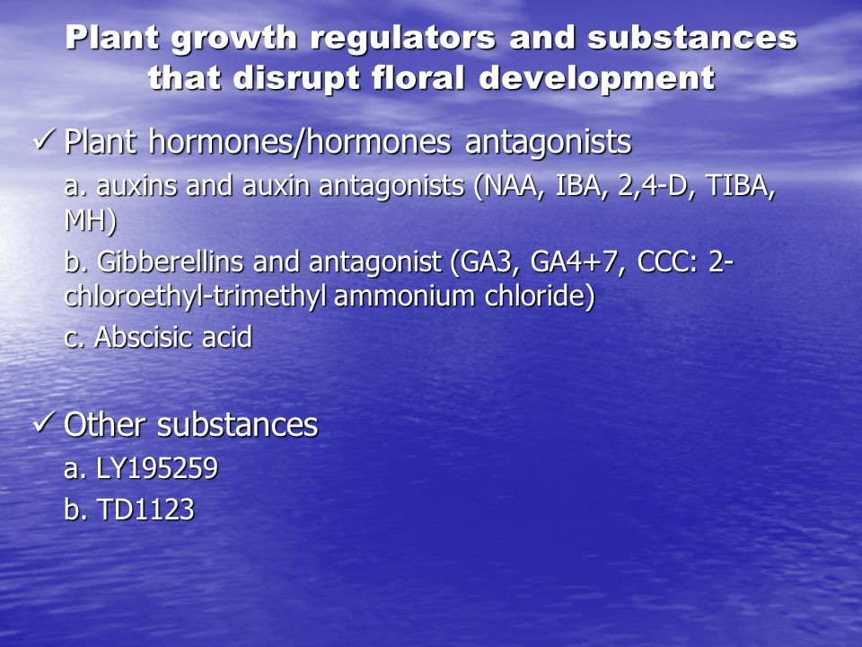 Plant growth regulators and substances that disrupt floral development