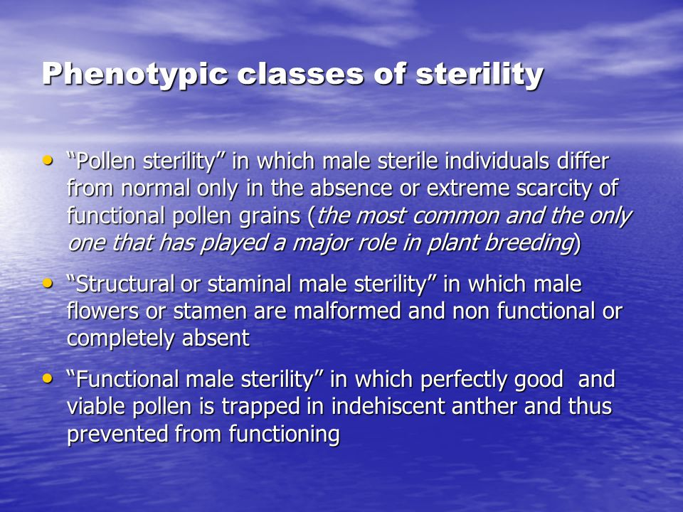Phenotypic classes of sterility
