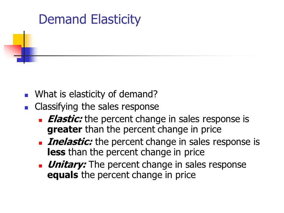 Demand Elasticity What is elasticity of demand