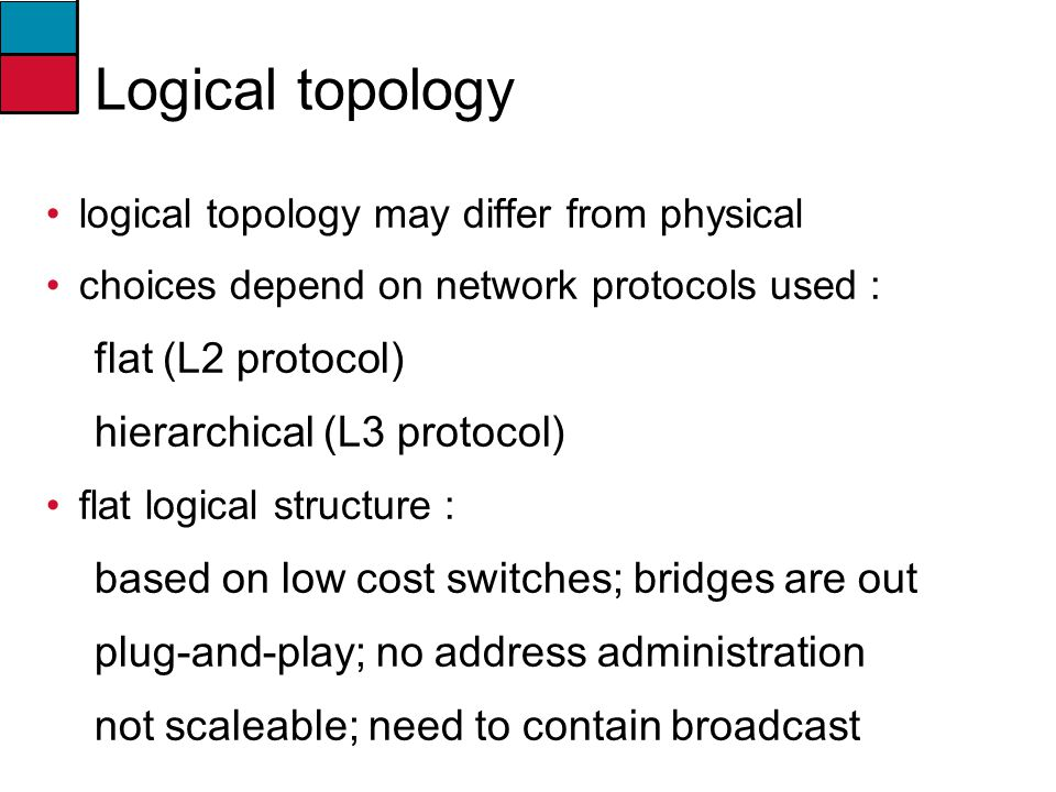 Logical topology flat (L2 protocol) hierarchical (L3 protocol)
