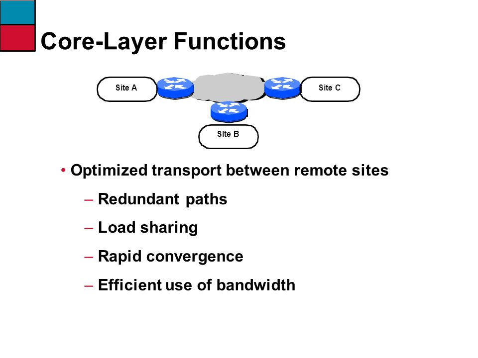 Core-Layer Functions Optimized transport between remote sites