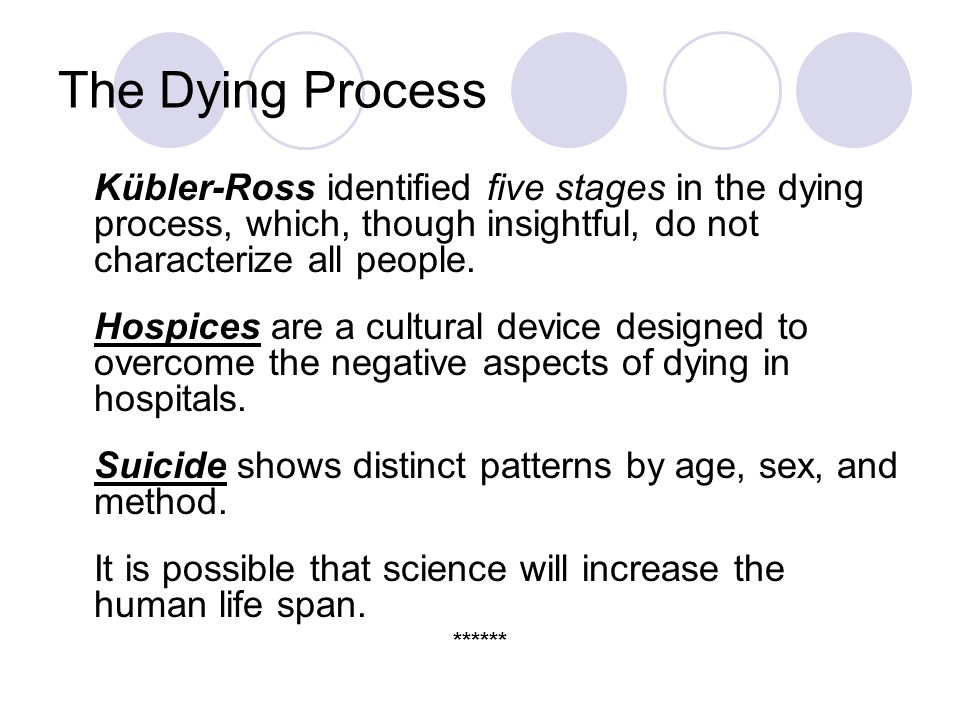 The Dying Process Kübler-Ross identified five stages in the dying process, which, though insightful, do not characterize all people.