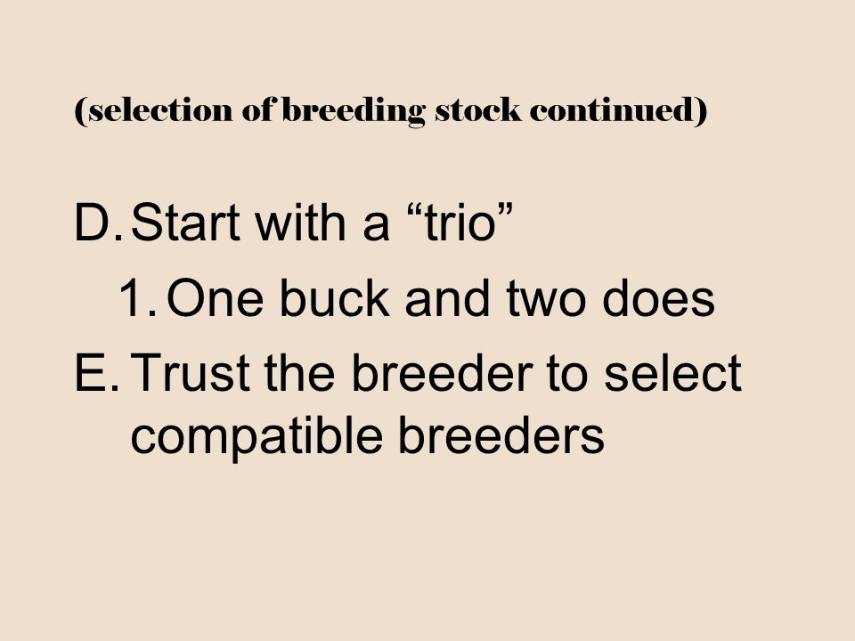 (selection of breeding stock continued)