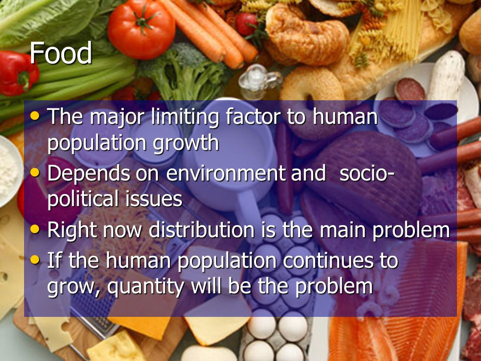 Food The major limiting factor to human population growth