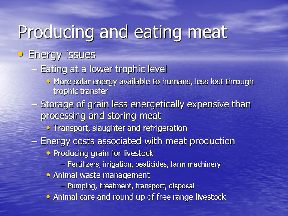 Producing and eating meat