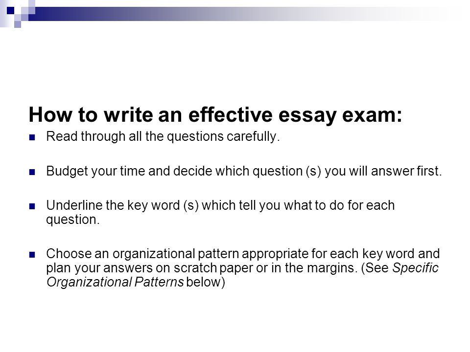 How to write an effective essay exam: