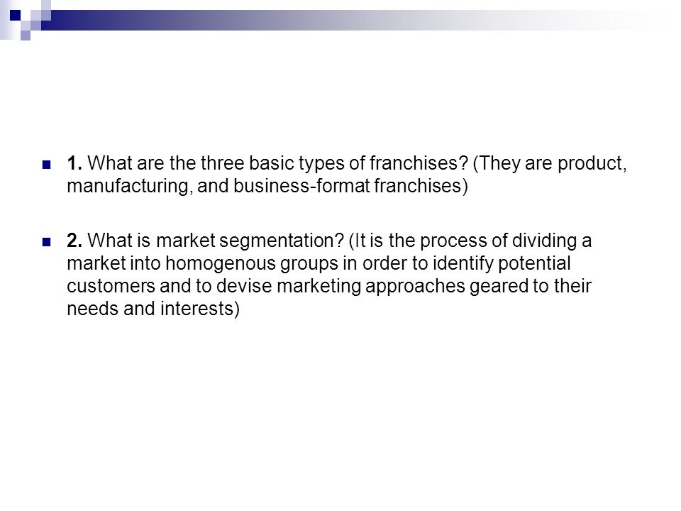 1. What are the three basic types of franchises