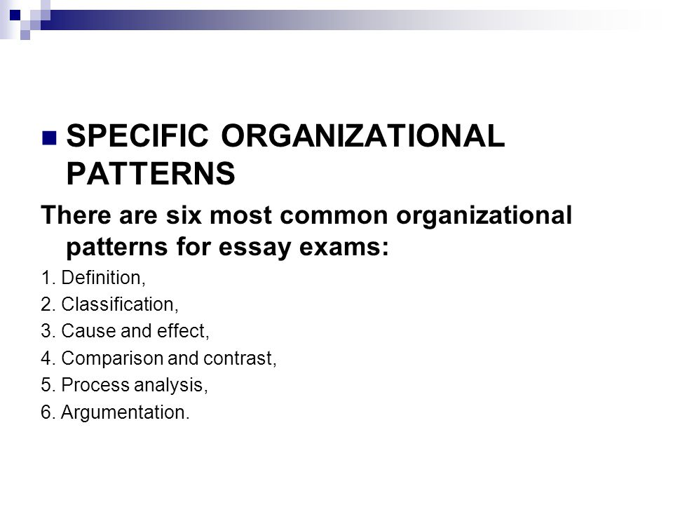 organizational patterns of a comparison or contrast essay The two types of organization used in compare and contras essays are point-by-point and whole-by-whole point-by-point organization first compares and contrast one point between the two subjects and then moves to the next point of comparison or contrast.