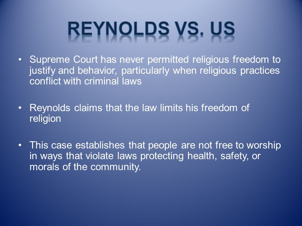 Reynolds vs. US