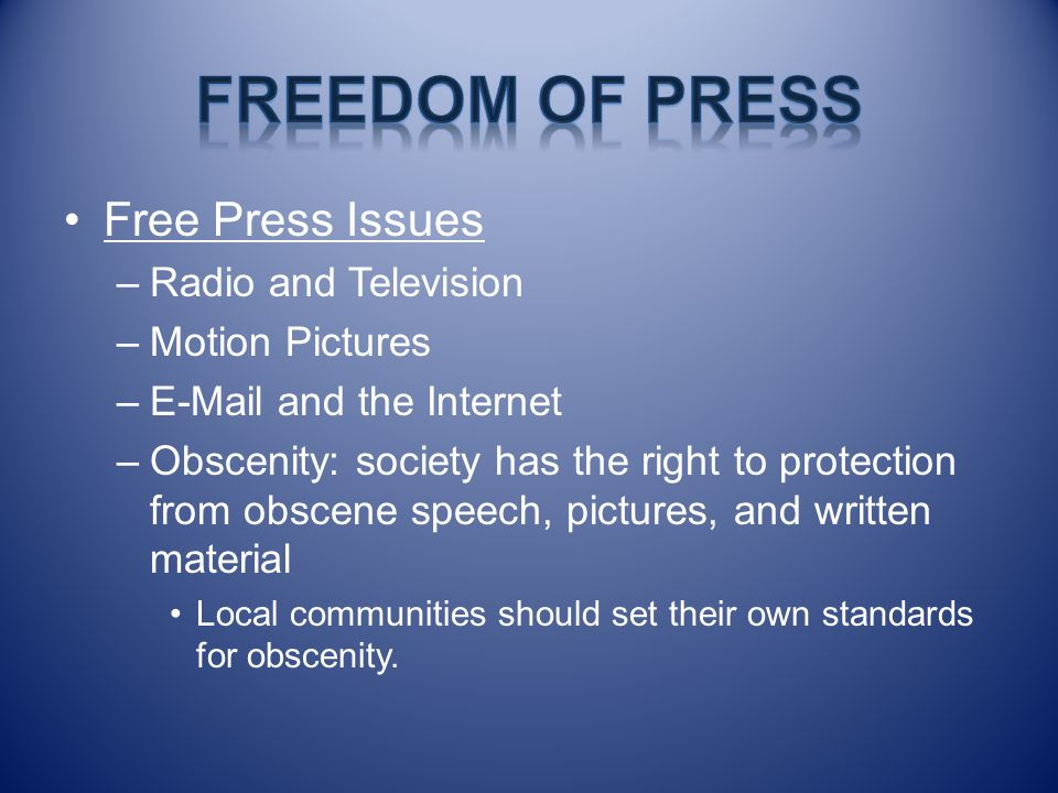 Freedom of Press Free Press Issues Radio and Television