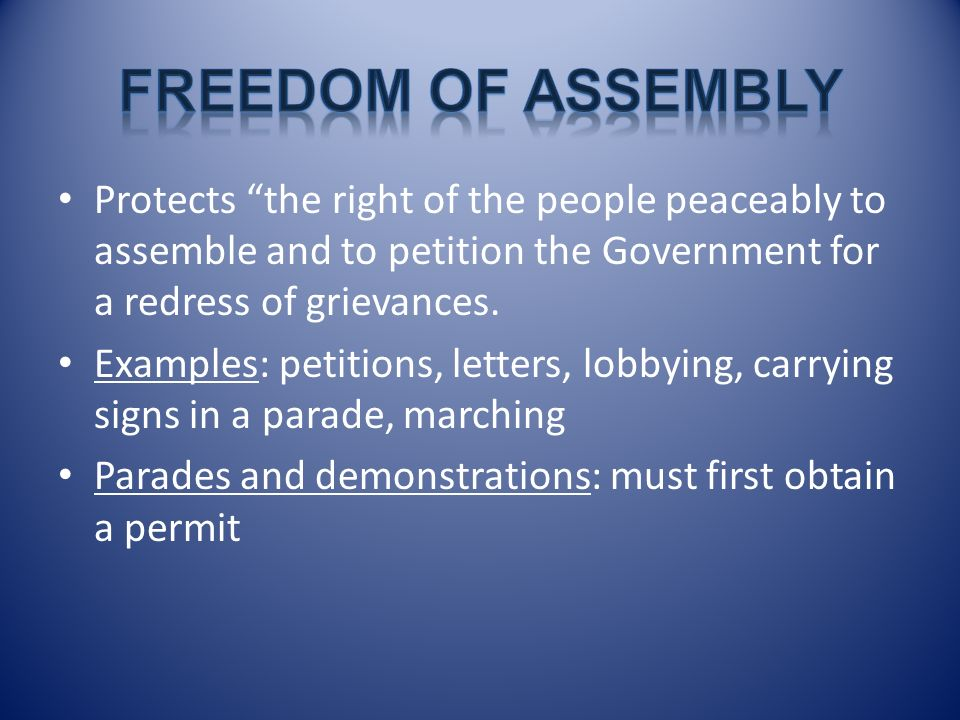 Freedom of Assembly Protects the right of the people peaceably to assemble and to petition the Government for a redress of grievances.