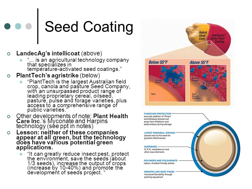 Seed Coating LandecAg's intellicoat (above)