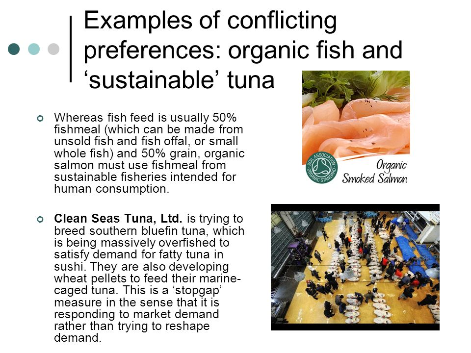 Examples of conflicting preferences: organic fish and 'sustainable' tuna