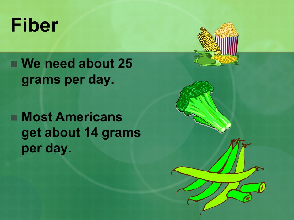 Fiber We need about 25 grams per day.