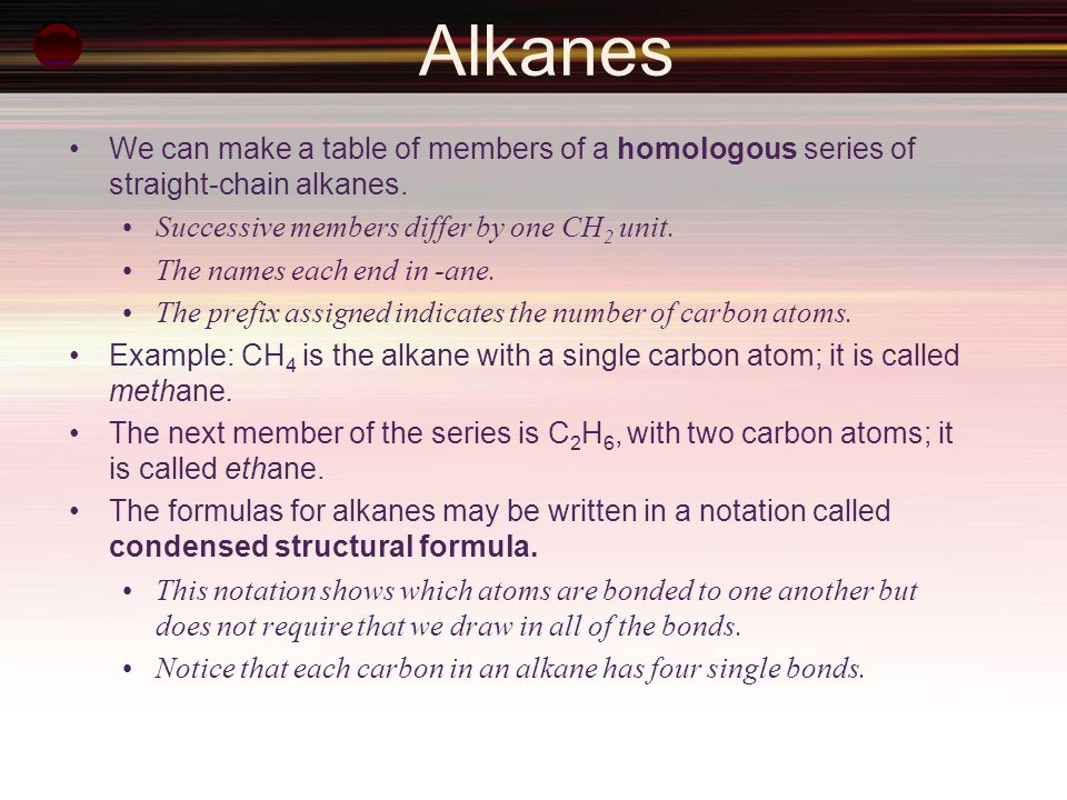 Alkanes We can make a table of members of a homologous series of straight-chain alkanes. Successive members differ by one CH2 unit.