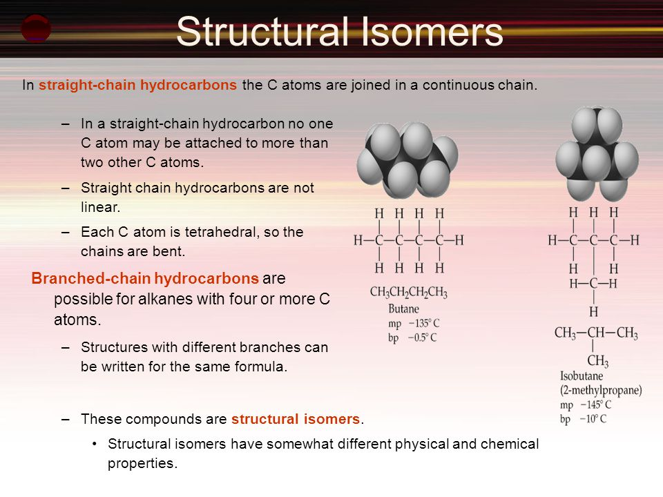 Structural Isomers In straight-chain hydrocarbons the C atoms are joined in a continuous chain.