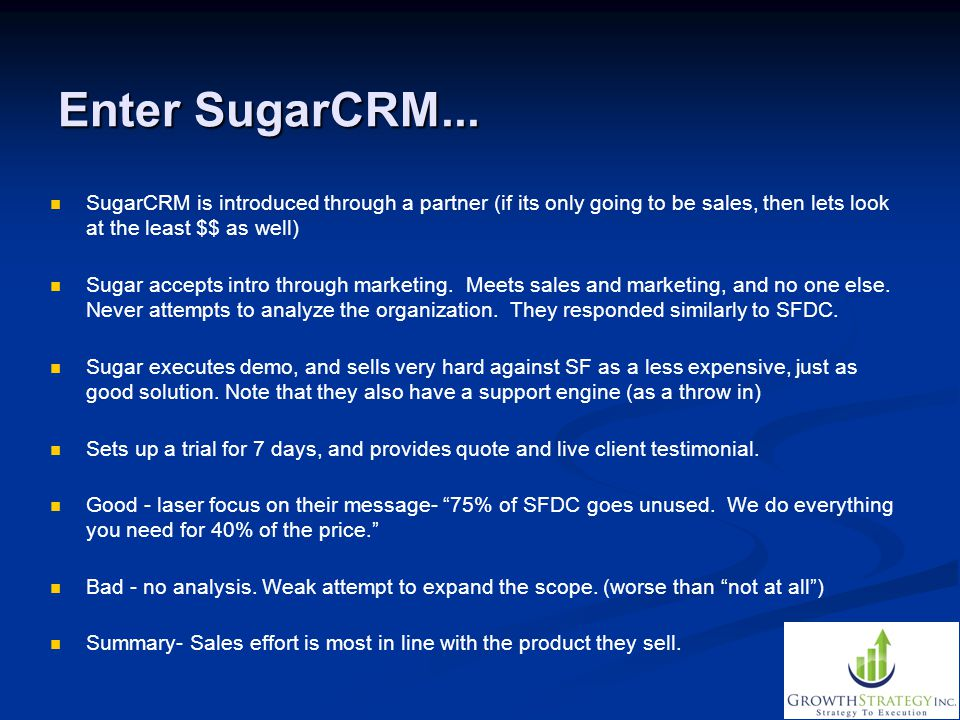 Enter SugarCRM... SugarCRM is introduced through a partner (if its only going to be sales, then lets look at the least $$ as well)