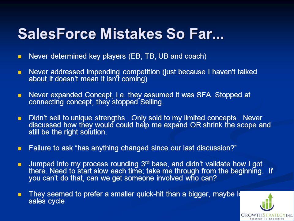 SalesForce Mistakes So Far...
