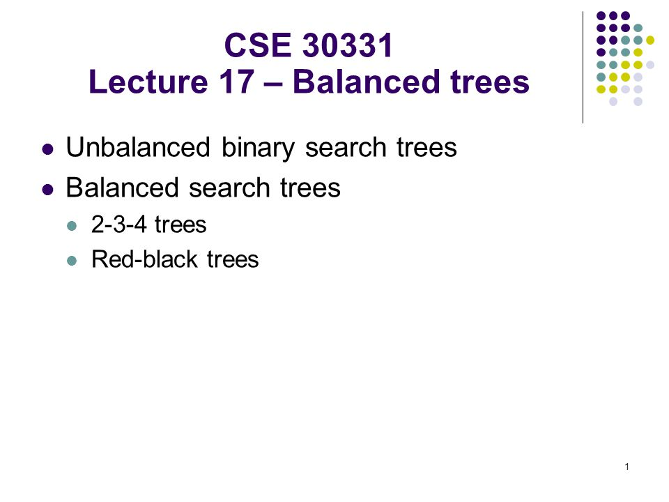 CSE 30331 Lecture 17 – Balanced trees