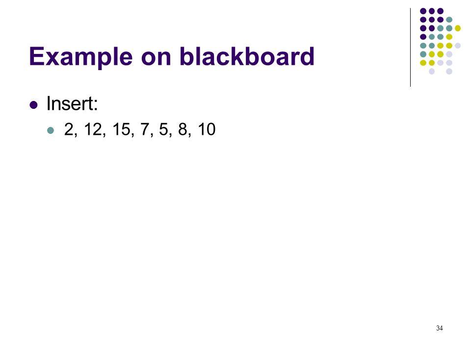 Example on blackboard Insert: 2, 12, 15, 7, 5, 8, 10