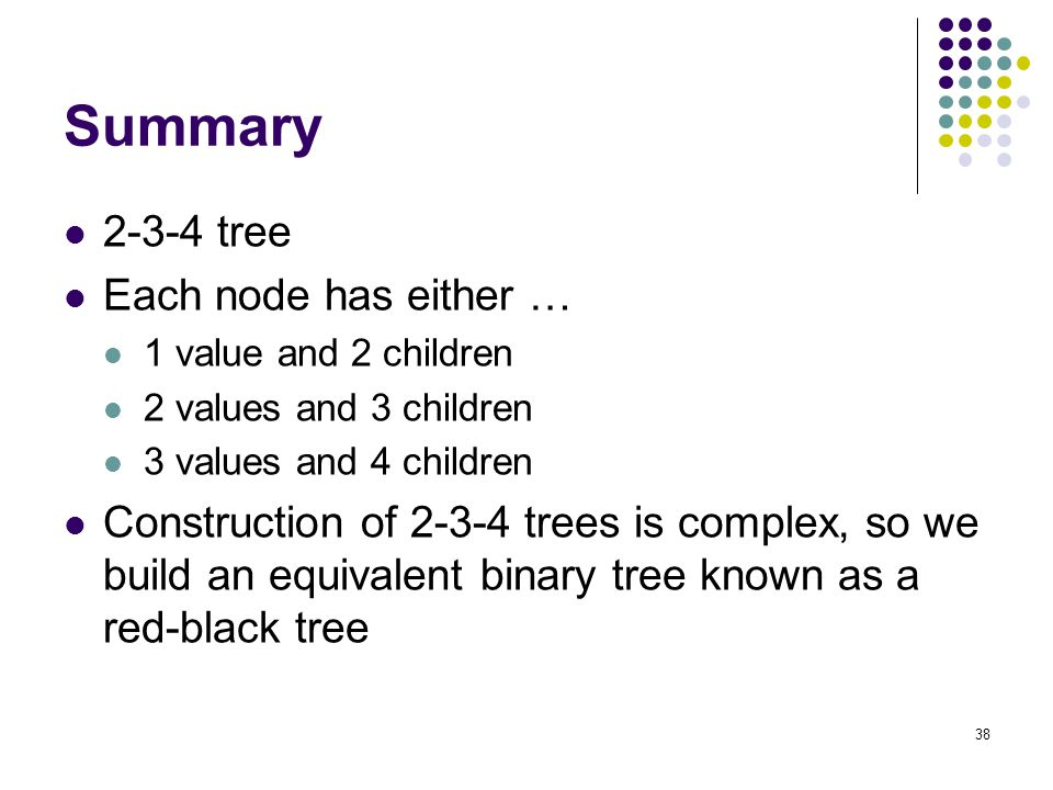 Summary 2-3-4 tree Each node has either …