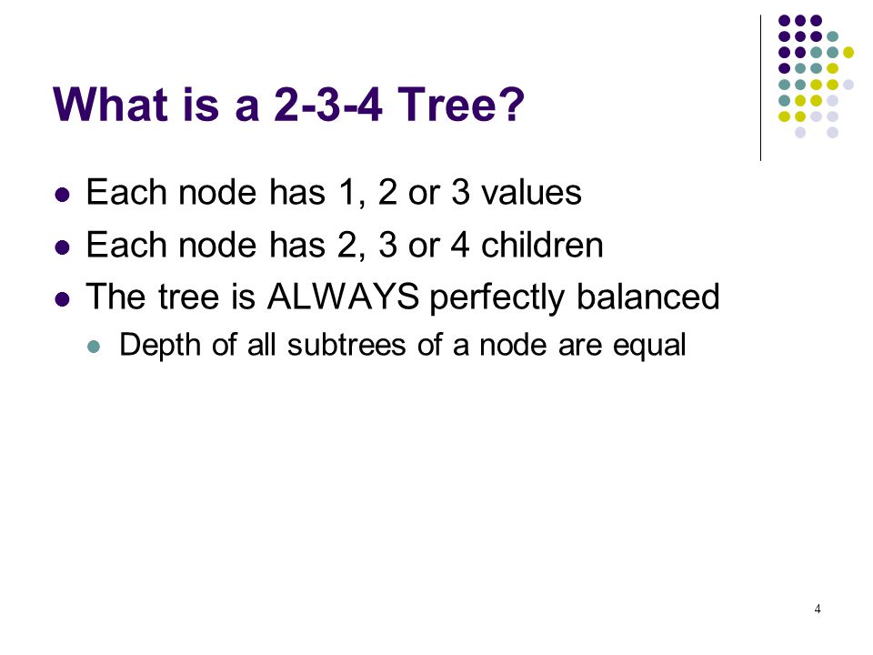 What is a 2-3-4 Tree Each node has 1, 2 or 3 values