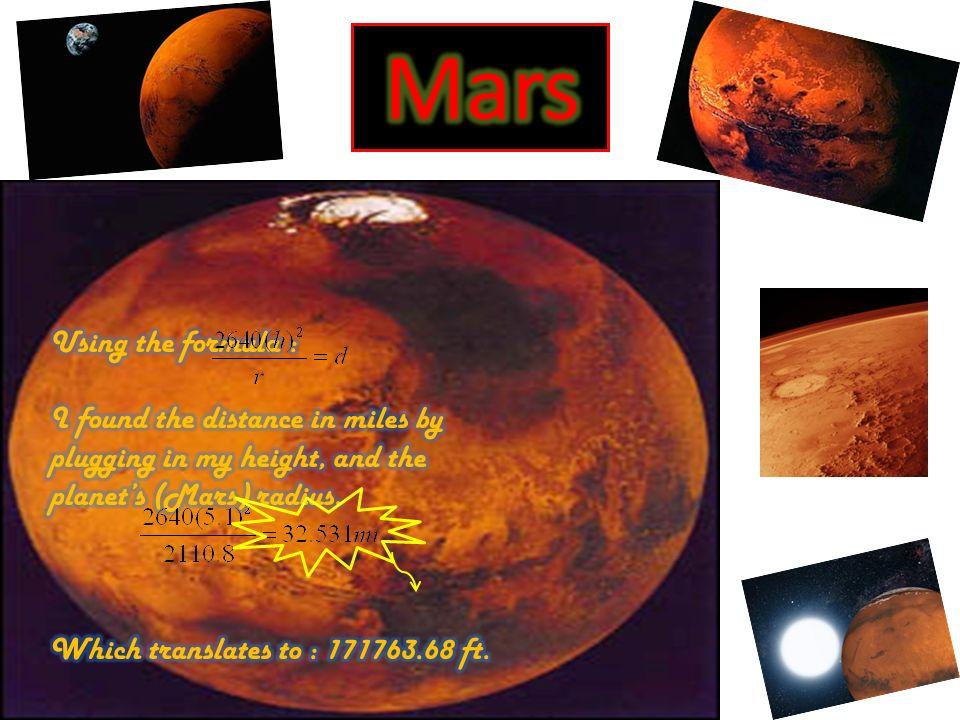 Mars Using the formula :