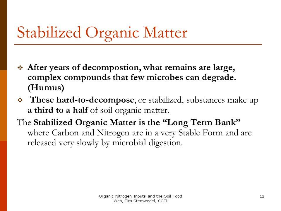 Stabilized Organic Matter