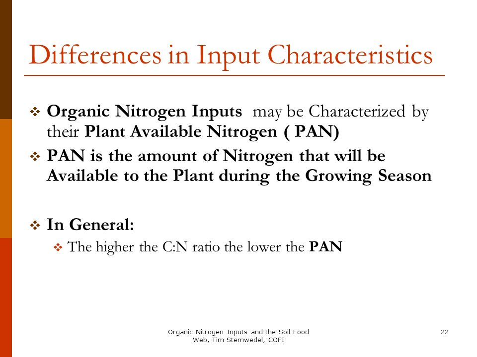Differences in Input Characteristics