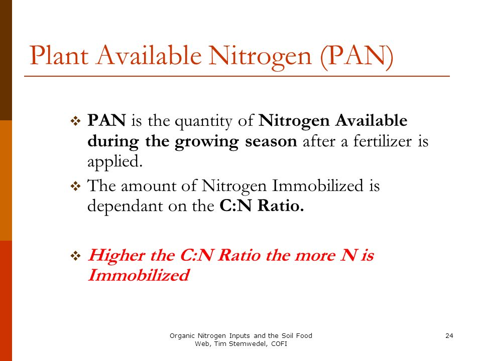 Plant Available Nitrogen (PAN)