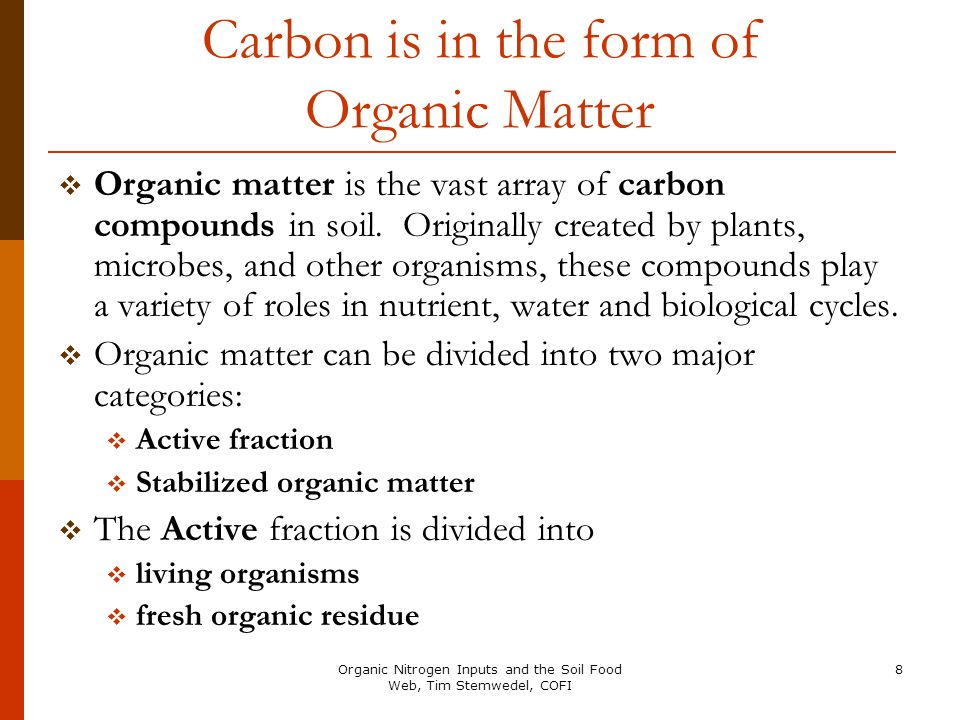 Carbon is in the form of Organic Matter