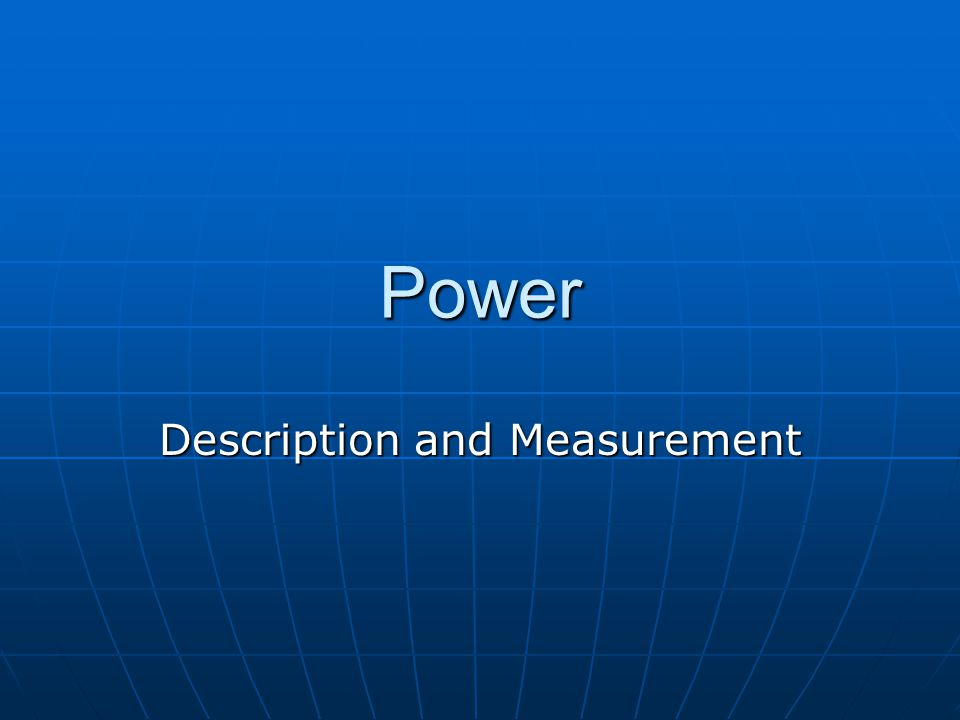Description and Measurement