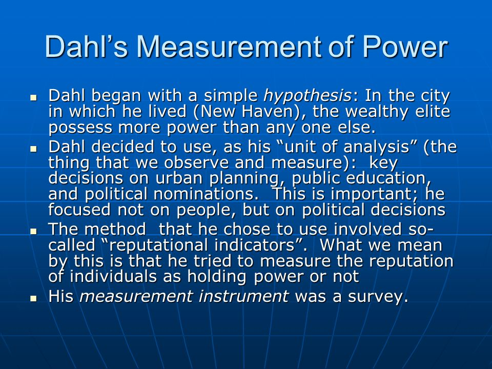 Dahl's Measurement of Power