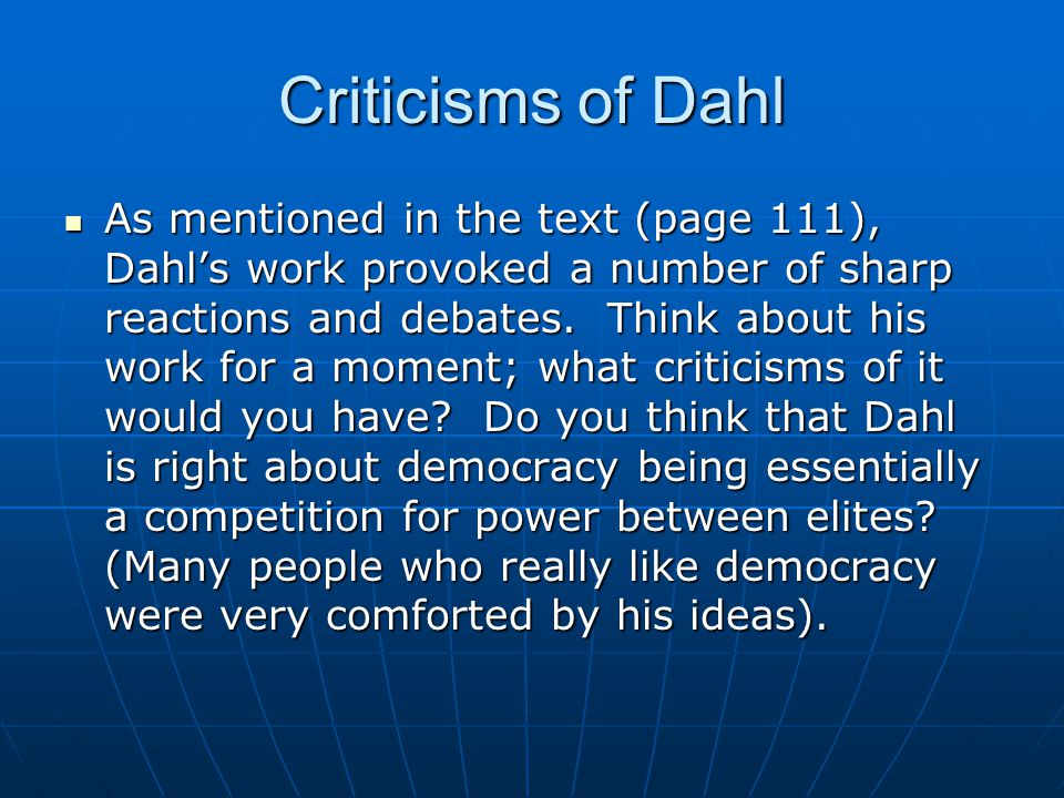 Criticisms of Dahl